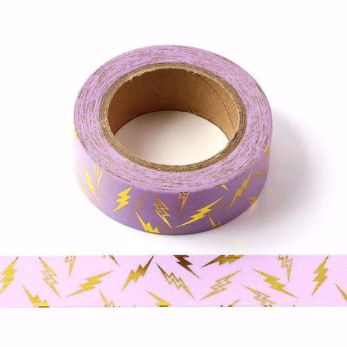 Punky Pins Lightening Gold Foil Purple Washi Tape