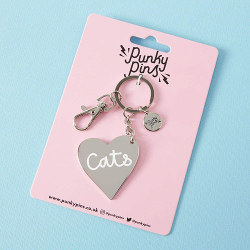 Punky Pins Love Cats Enamel Keyring