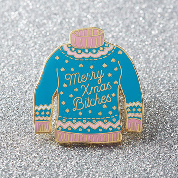 Merry Christmas Bitches Jumper Enamel Pin