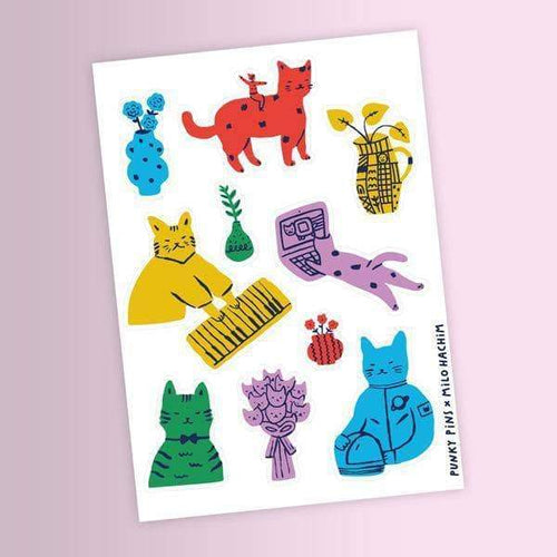 Milena Hachim Cats Sticker Sheet