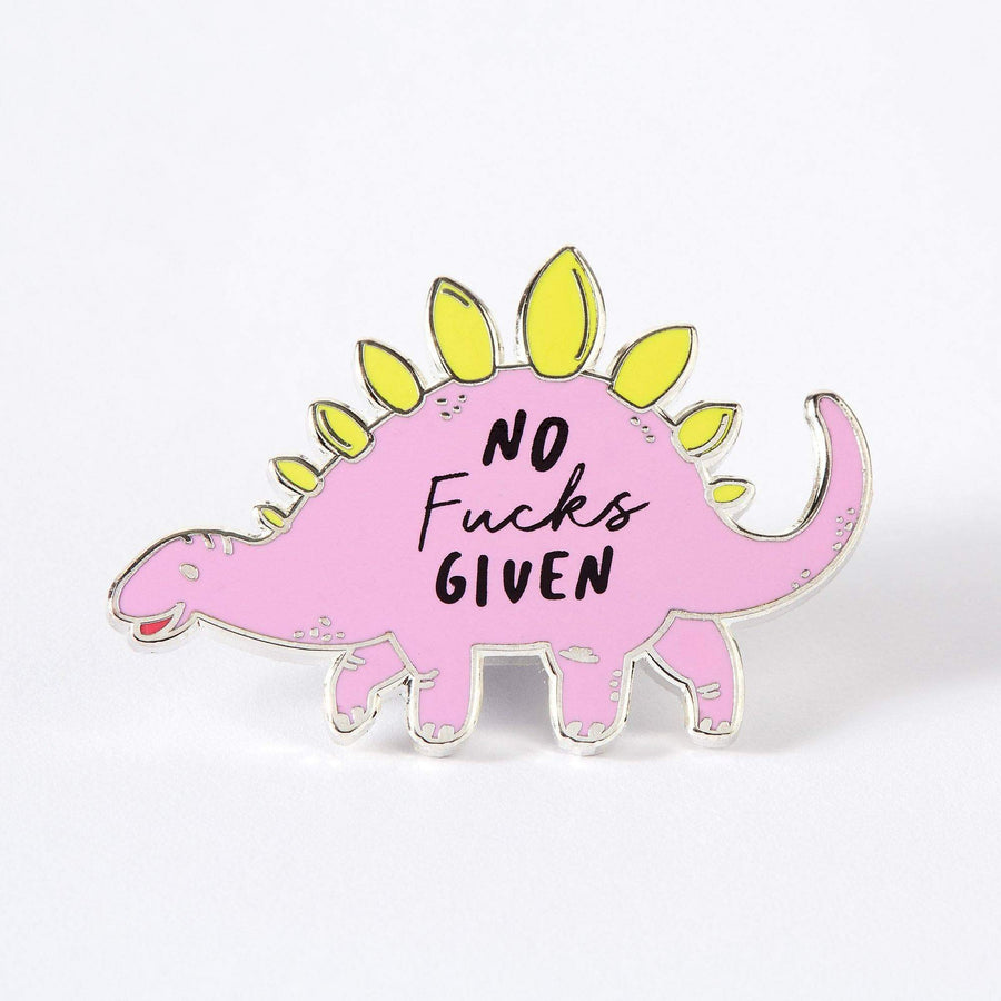 No Fucks Given Stegosaurus Dinosaur Enamel Pin