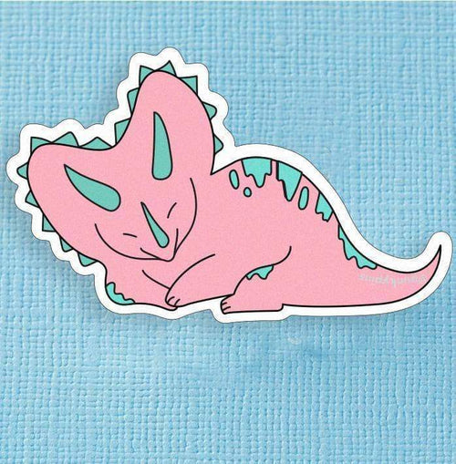 Pink and Green Triceratops Dinosaur Large Vinyl Sticker
