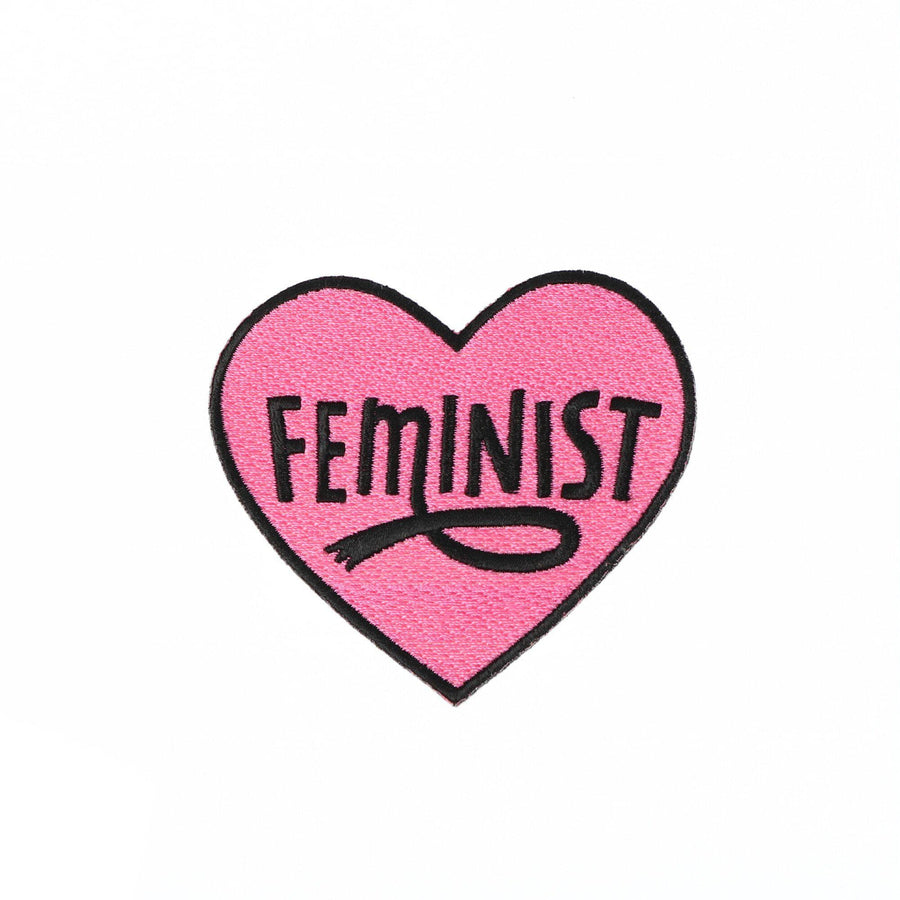 Punky Pins Pink Feminist Heart Embroidered Iron On Patch Sample