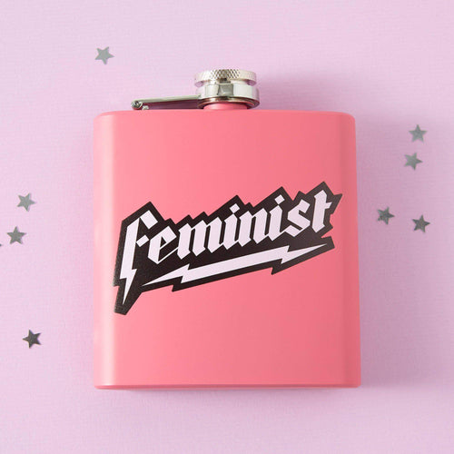 Punky Pins Pink Feminist Hip Flask