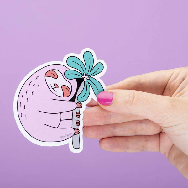 Punky Pins Pink Sloth Large Vinyl Sticker