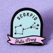 Punky Pins Scorpio Blue and Pink Starsign Enamel Pin