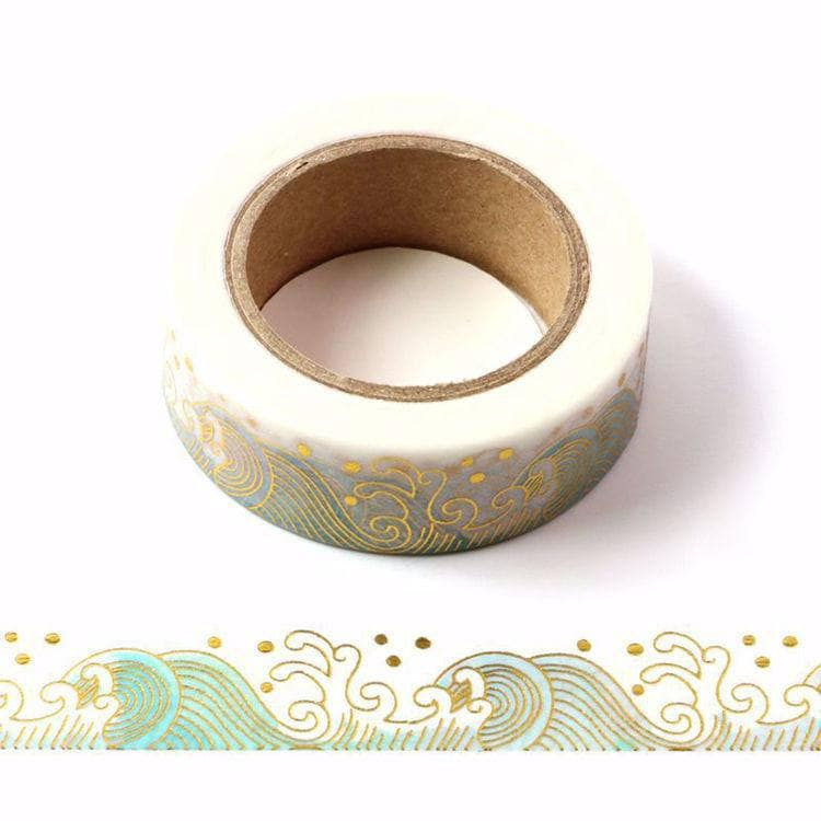 Sea Waves Gold Washi Tape