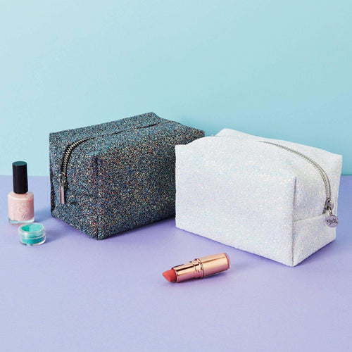 Punky Pins Silver Glitter Make Up Bag