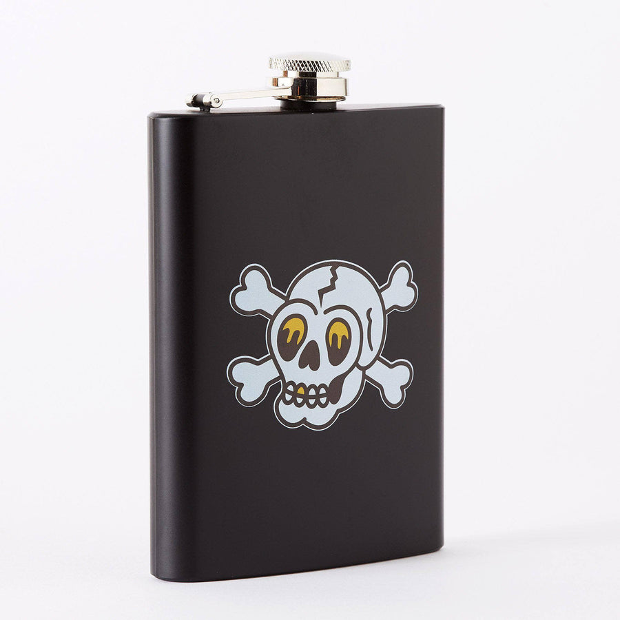 Skull & Crossbones Tattoo Tall Black Hip Flask
