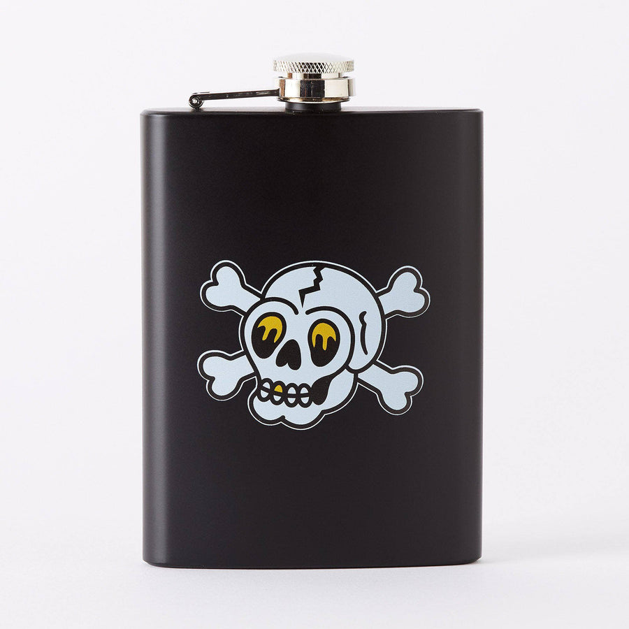Punky Pins Skull & Crossbones Tattoo Tall Black Hip Flask