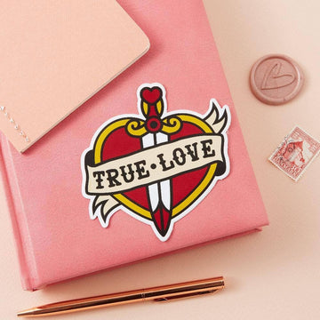 Punky Pins True Love Tattoo Inspired Vinyl Laptop Sticker