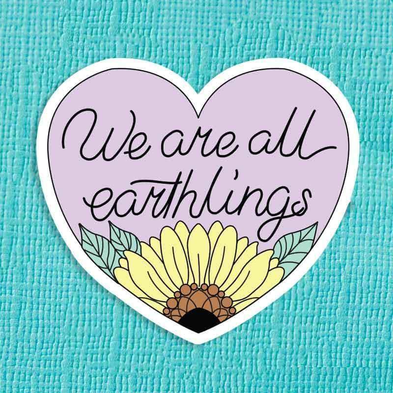 Punky Pins We Are All Earthlings Die Cut Vinyl Sticker
