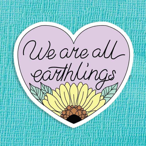 We Are All Earthlings Die Cut Vinyl Sticker