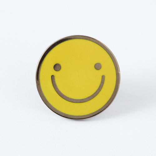 Yellow Smiley Face Enamel Pin