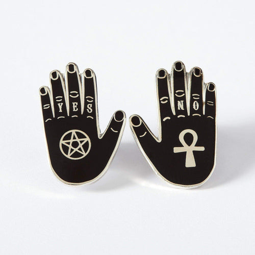 Yes & No Hand Enamel Pin set