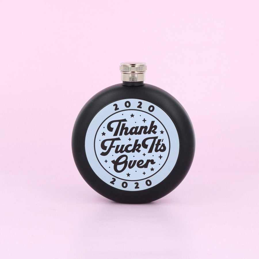 punkypins 2020 Thank Fuck It's Over Hip Flask Pink Black