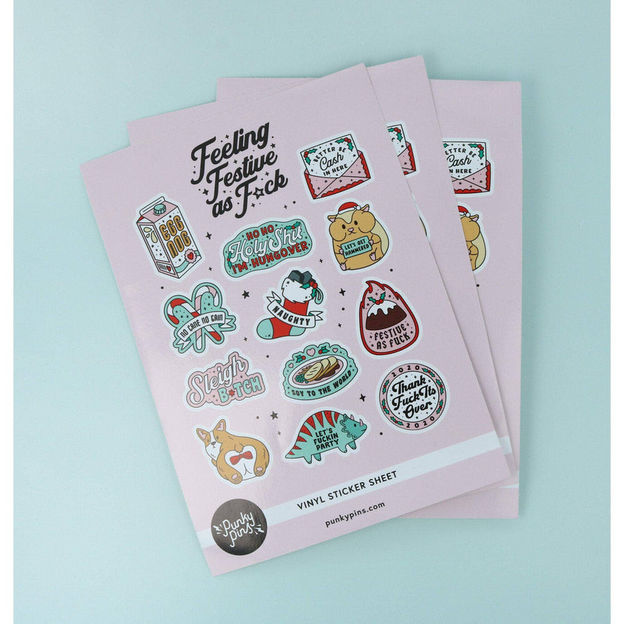 punkypins Festive As Fuck A5 Vinyl Sticker Sheet