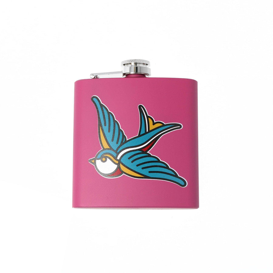punkypins Pink Tattoo Swallow Hip Flask Sample