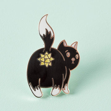 Purr-sent Christmas Cat bum Enamel Pin