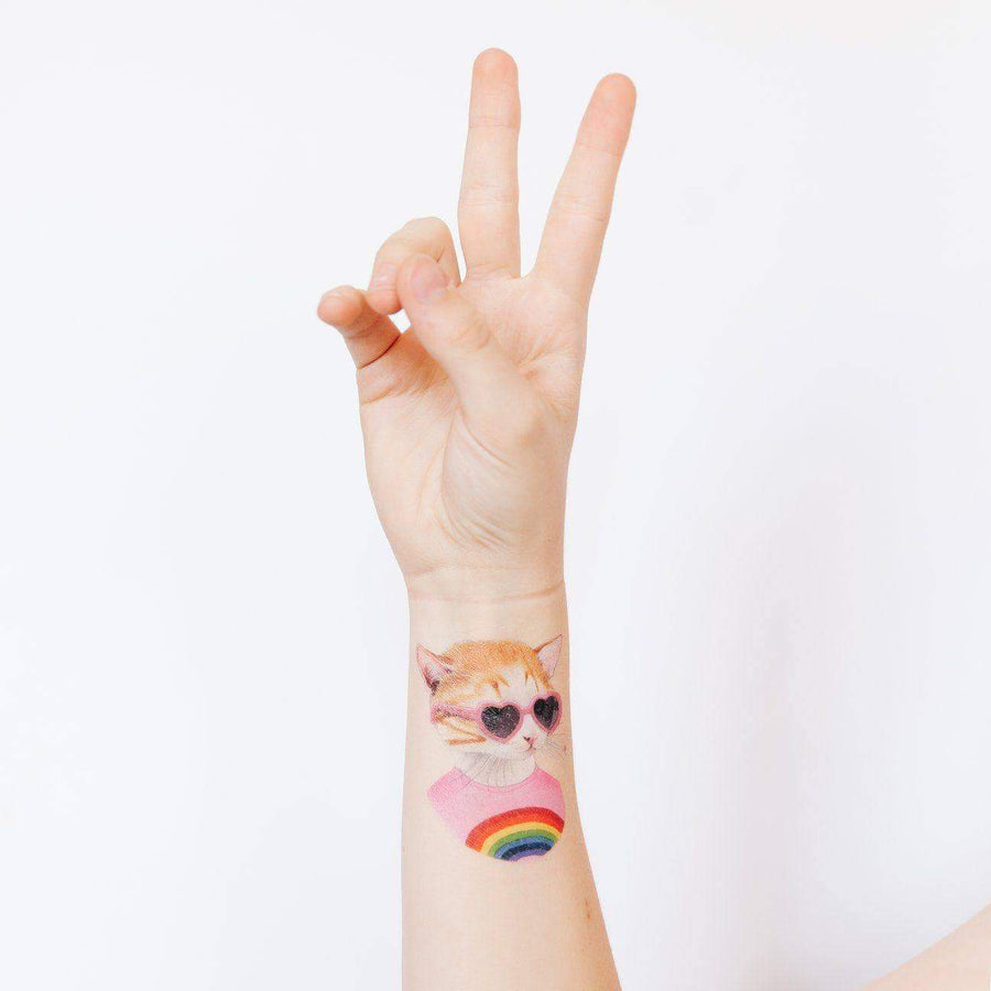 Rainbow Kitten Temporary Tattoos