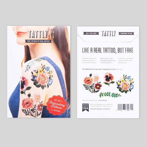 Tattly The Embroidery Set Temporary Tattoos