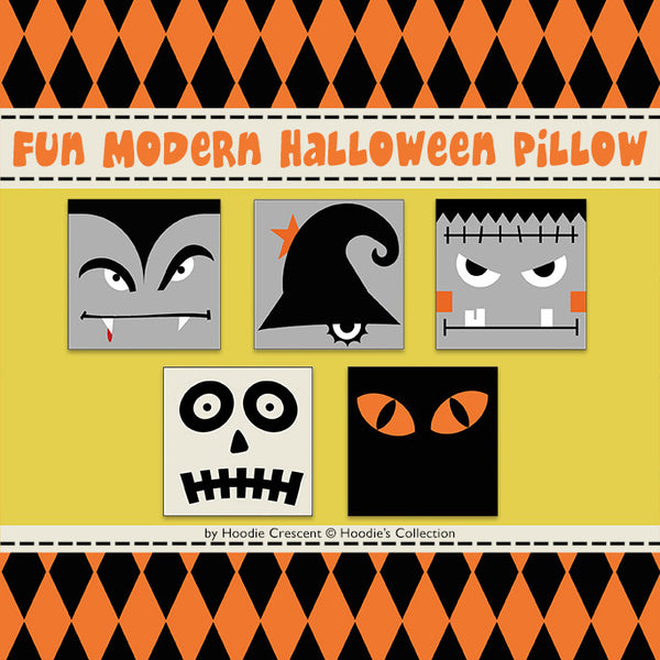 DIY -  Fun Modern Halloween Pillow / Sewing Pattern PDF File