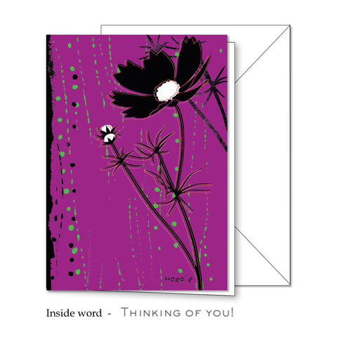 Flower Silhoutte Greeting Card 4 x 5 11/16
