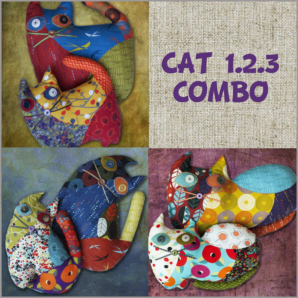 DIY - Patchwork Cat 1.2.3 Combo Sewing Pattern PDF File