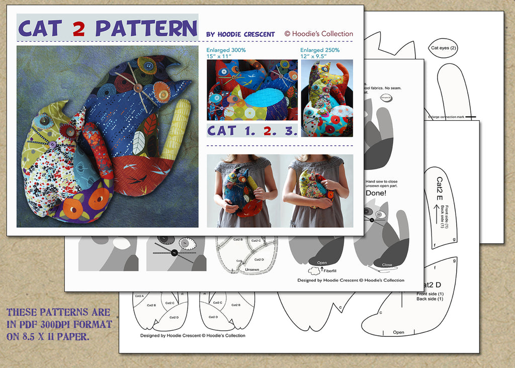 Cat 2 - stuffed animal / PDF Patchwork Sewing Pattern