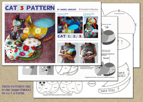 Cat 3 - stuffed animal / PDF Patchwork Sewing Pattern