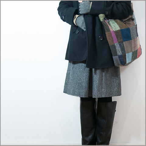 Tweed Patchwork Reversible Tote Bag