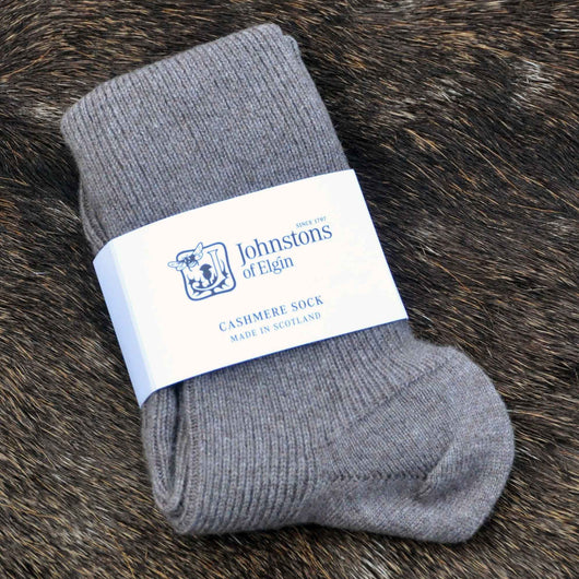 Johnstons of Elgin Cashmere Socks in Driftwood