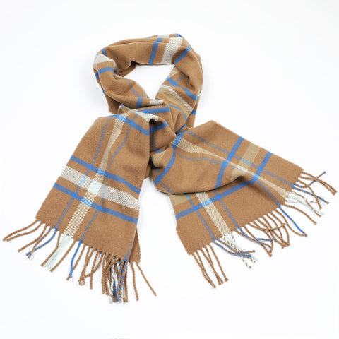 Affric wool scarf in cinnamon, sky and cobalt blue