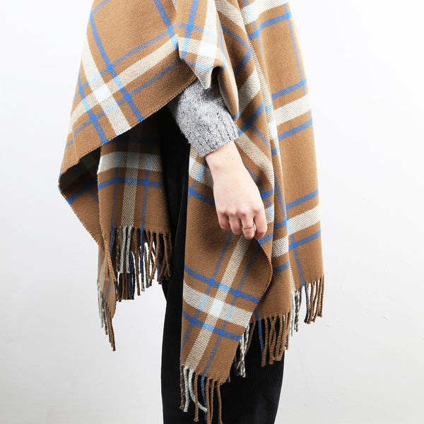 A checked wool shawl/stole with a cinnamon ground, highlighted by sky and cobalt blue.