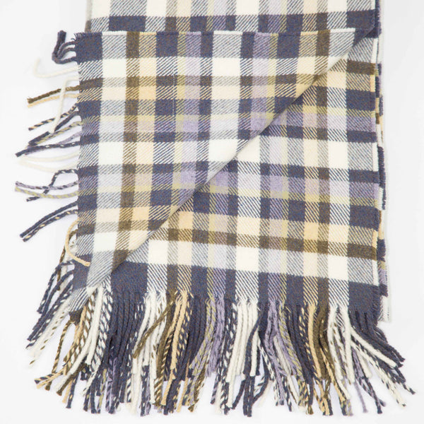 Scottish designed wool throw with multi block check in lilac, heather, lichen and ecru