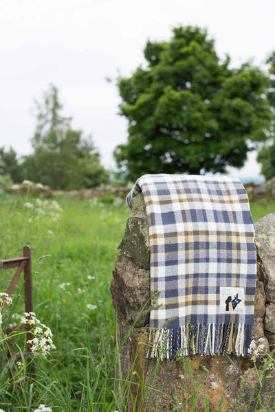 Wool throw with multi block check in colours reflecting the Scottish landscape