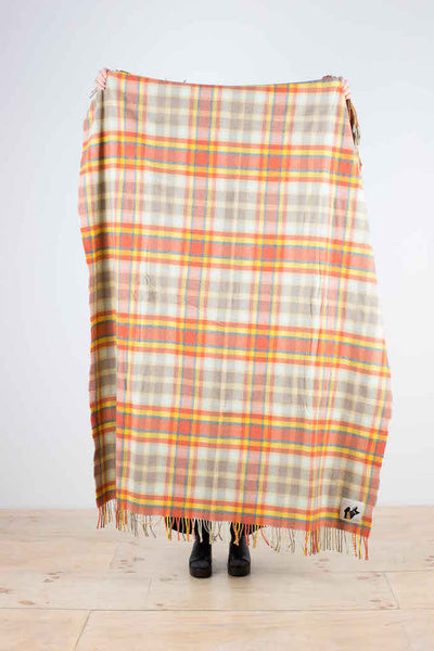 Wool throw designed in Scotland - gold, orange, grey, beige