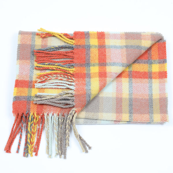 Etive wool scarf in yellow, orange, cream and grey