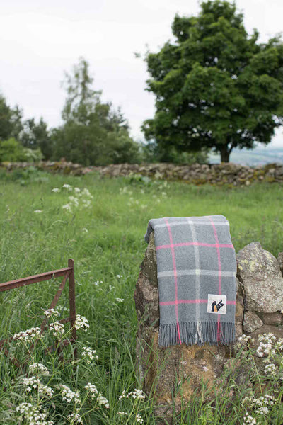 Wool throw in grey and pink designed in Scotland