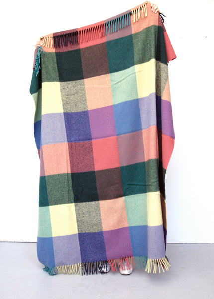 Checked blanket in yellow, green lilac and blue