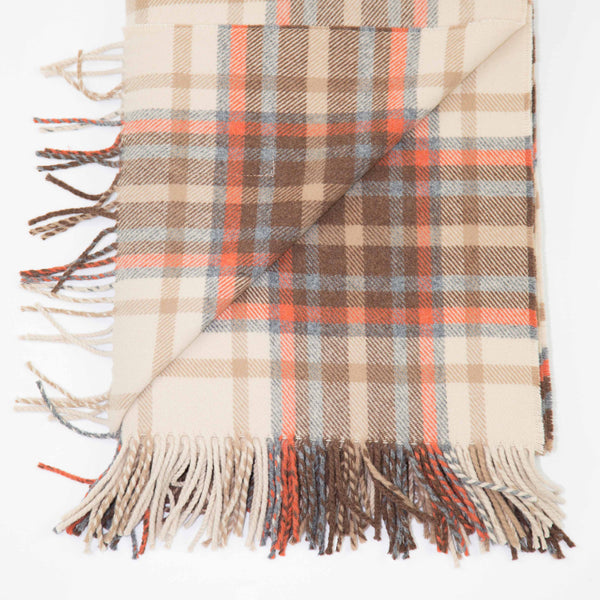 Checked wool throw in brown, cream and grey