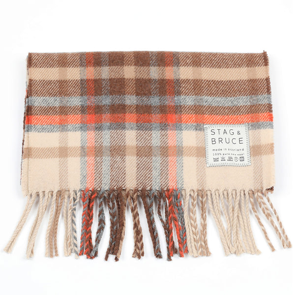 Orchy scarf in brown, orange and grey