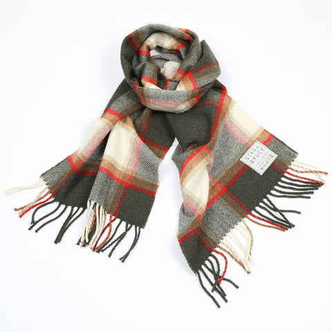 Wool scarf in grey, green, red and cream