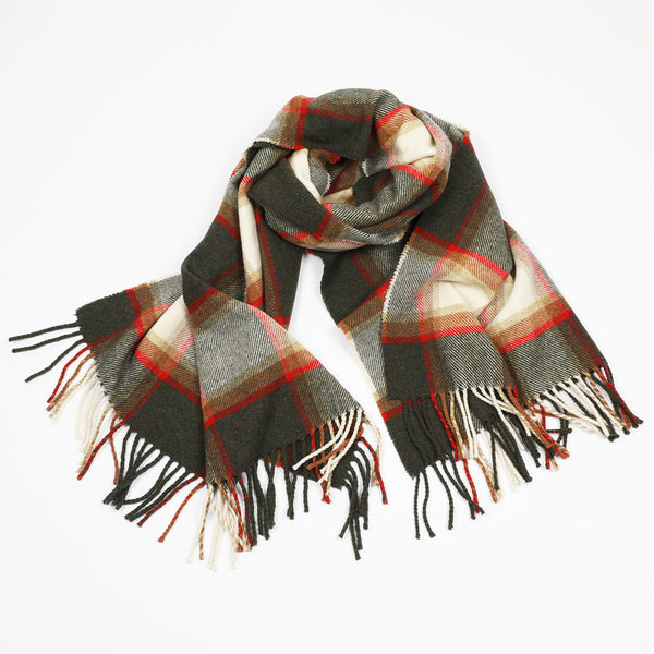 A wool shawl/stole in grey, green, orange and red
