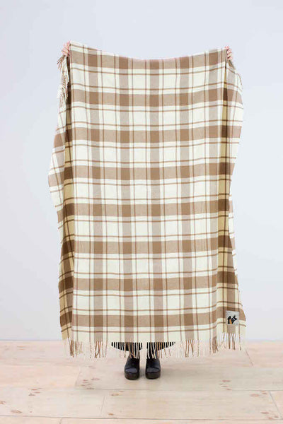 Lightweight wool throw in brown and cream check