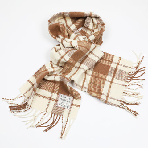 Wool scarf in cream and brown
