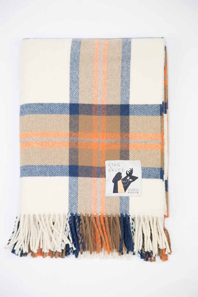 Woollen throw in blue and orange check