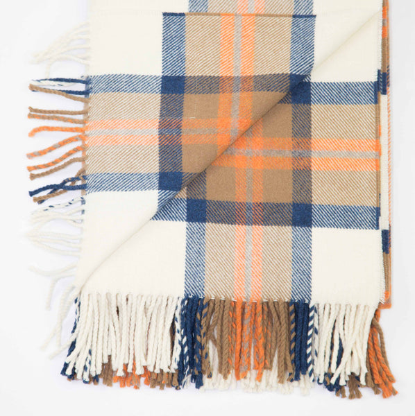 Wool throw in blue and orange check