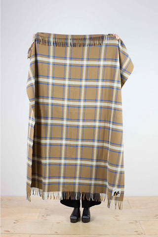 Affric - a checked wool throw in cinnamon, beige, brown and blue, cobalt
