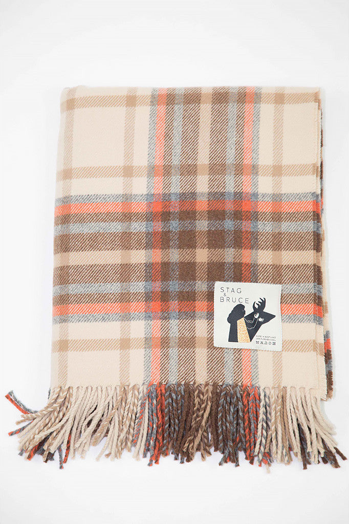 Checked woolen throw in brown, cream and grey